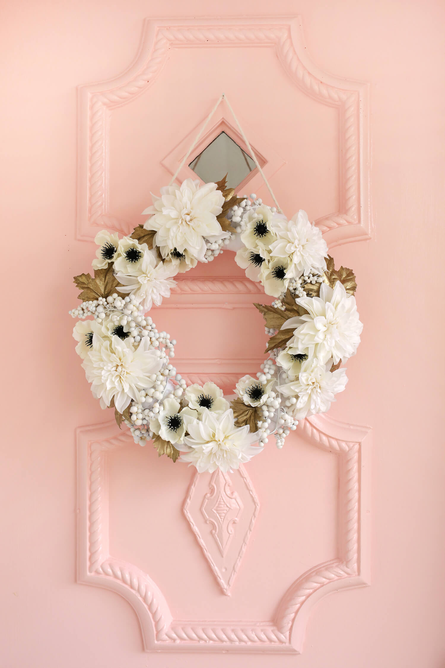 Diy gold and white holiday wreath