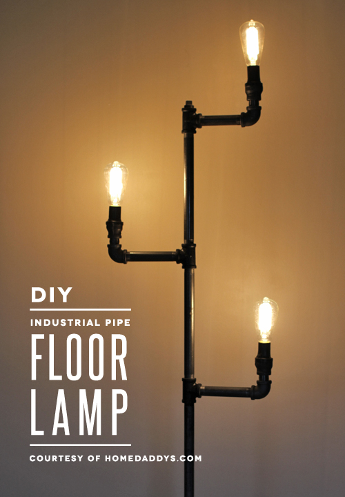 Light up the living room with these 25 diy floor lamps diy industrial pipe lamp solutioingenieria Image collections