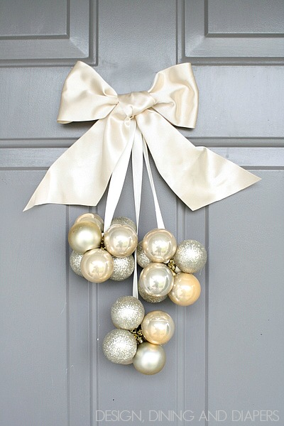 Diy ornament door decoration using dollar store ornaments only takes 30 minutes