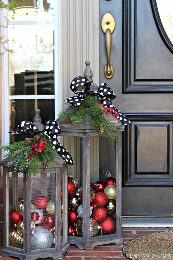 diy ornament lanterns diy - How To Decorate Front Porch For Christmas