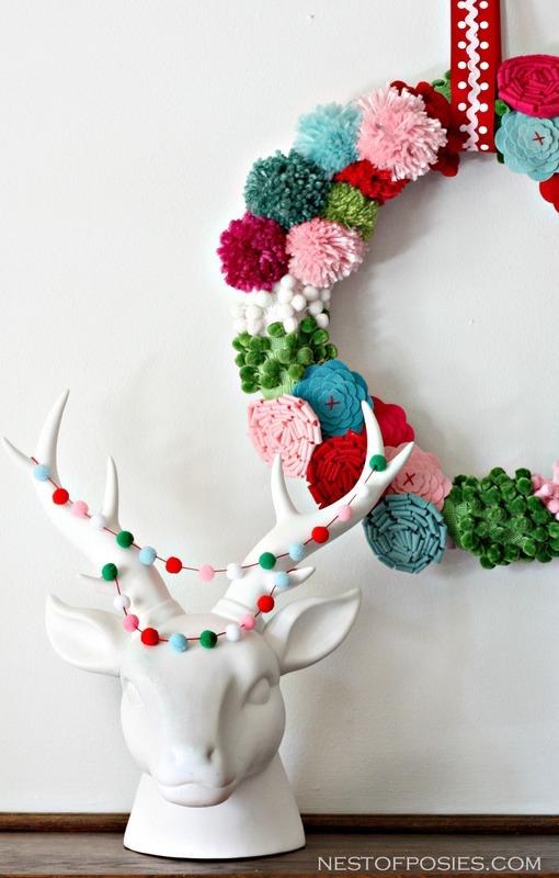 Diy pom pom christmas wreath