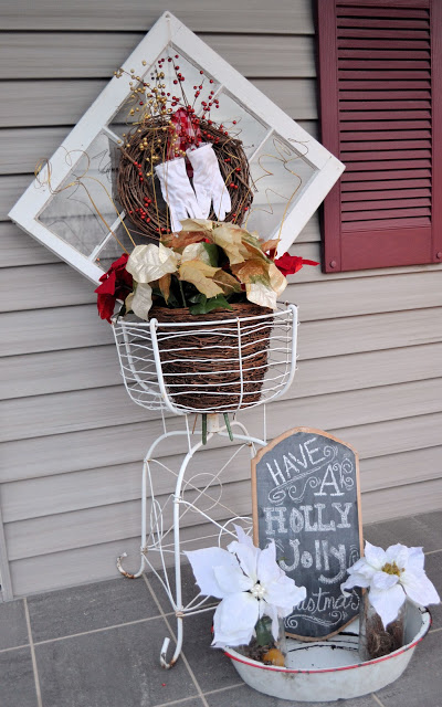 Diy shabby christmas porch decor