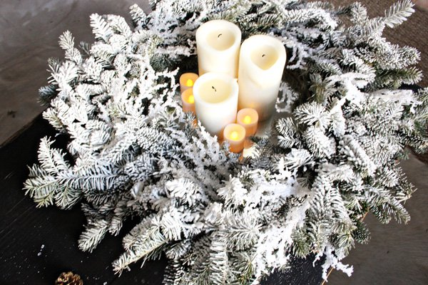Diy wreath and candle centerpiece
