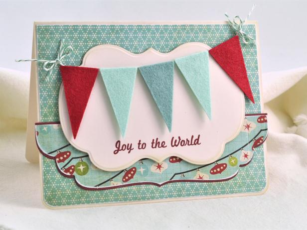 Diy christmas card colorful felt pennants