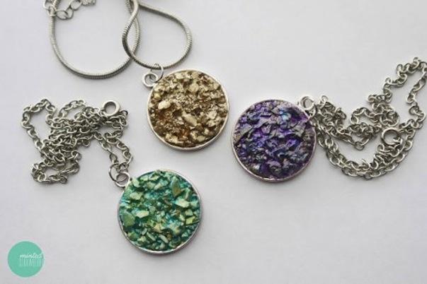 Diy faux druzy necklaces
