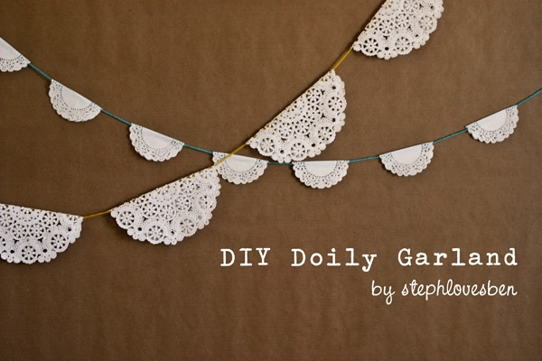 Diy lace doily garland