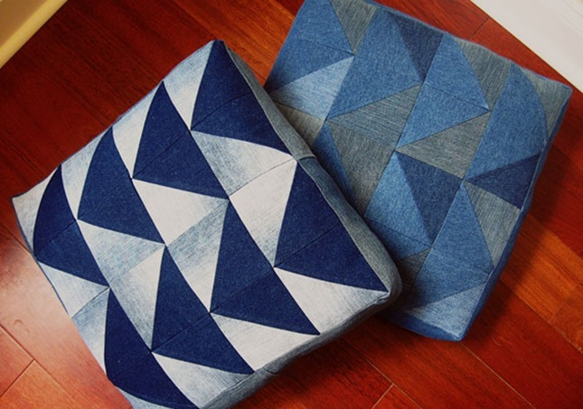 Denim arrow cushion