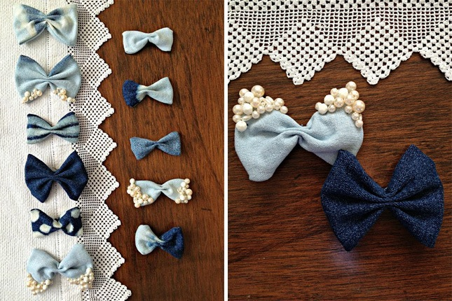 Denim hair bows