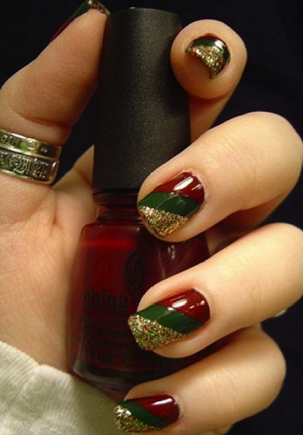 Diagonal metallic christmas colours