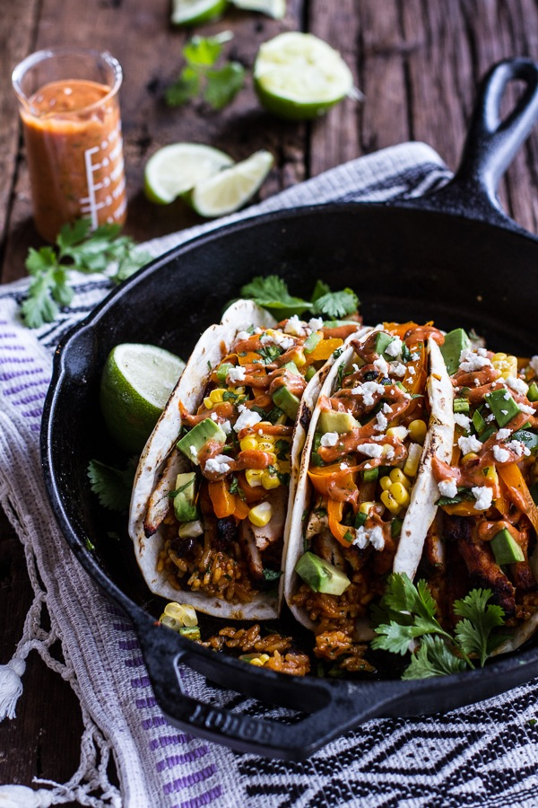 Easy chicken fajitas with cheesy enchilada rice and spicy tex mex sauce