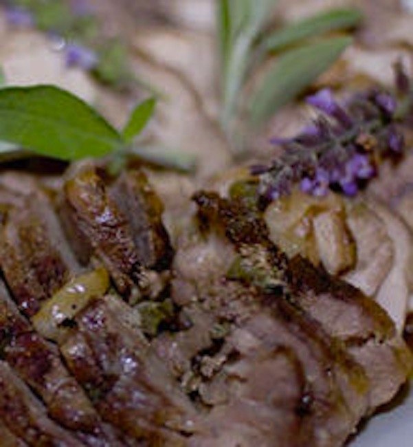 Grilled leg of lamb with lavender rosemary rub