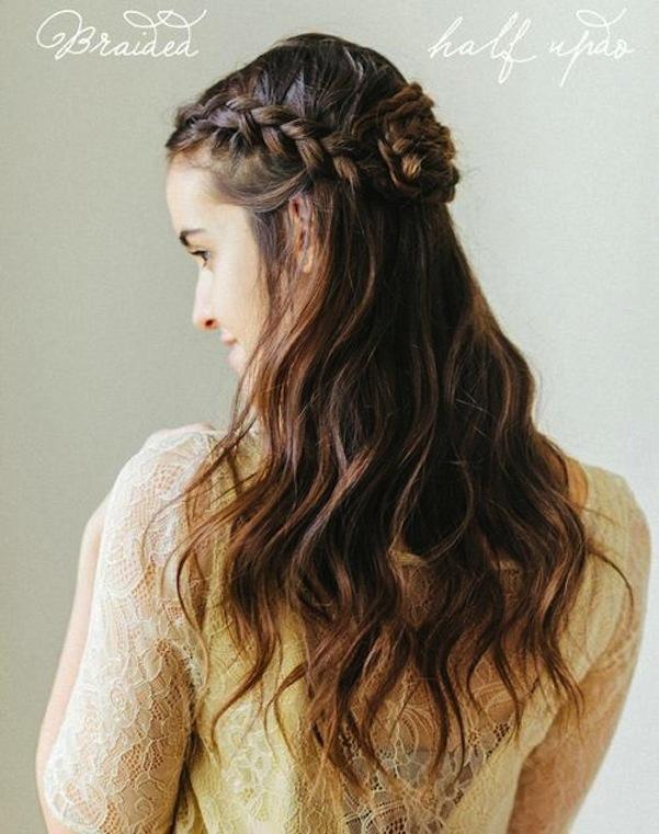 Half updo braids