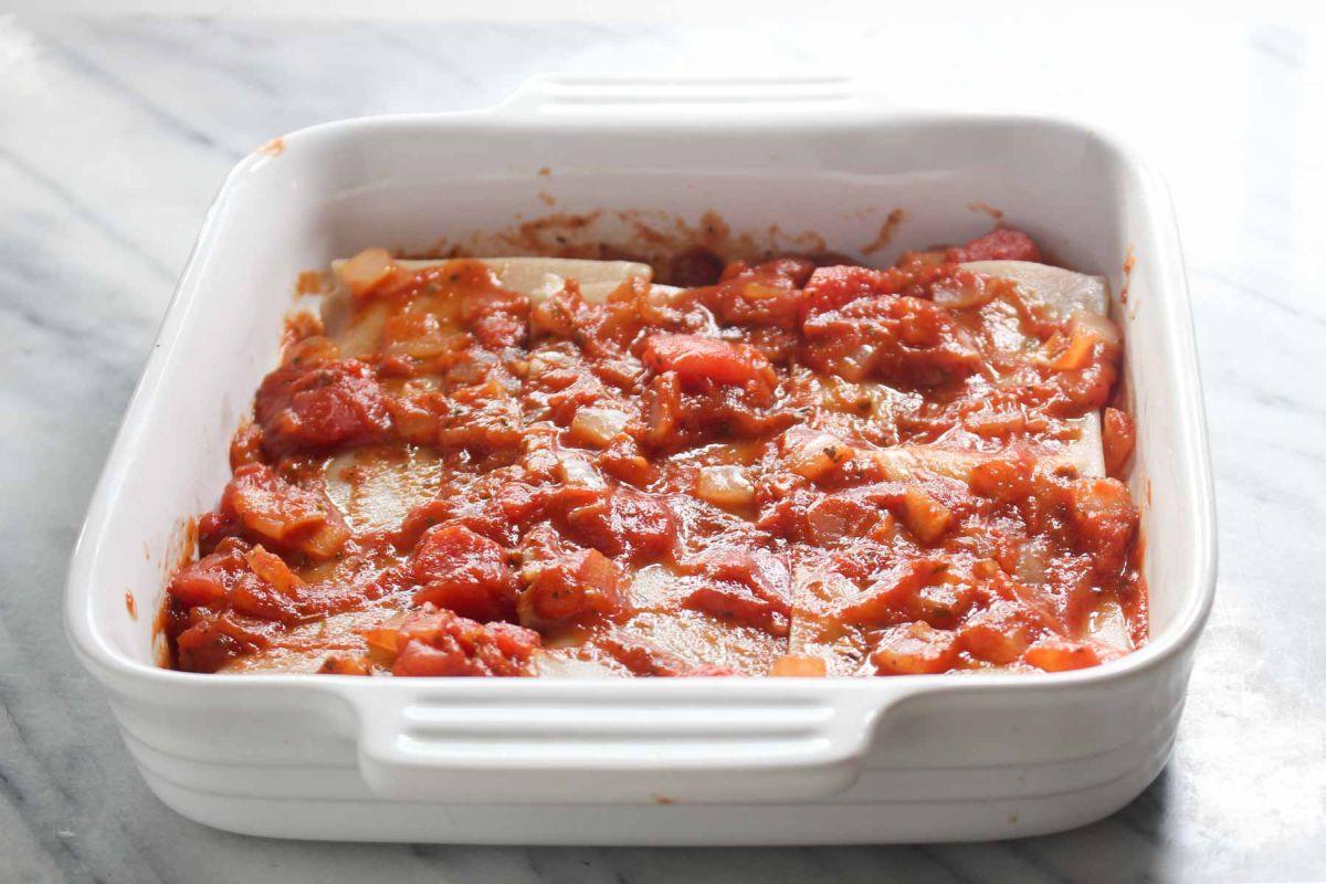 Healthy homemade lasagna add tomato sauce
