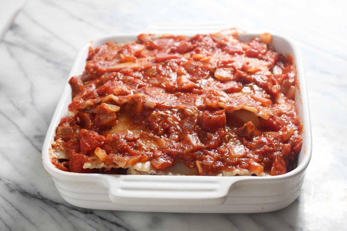 Healthy homemade lasagna back
