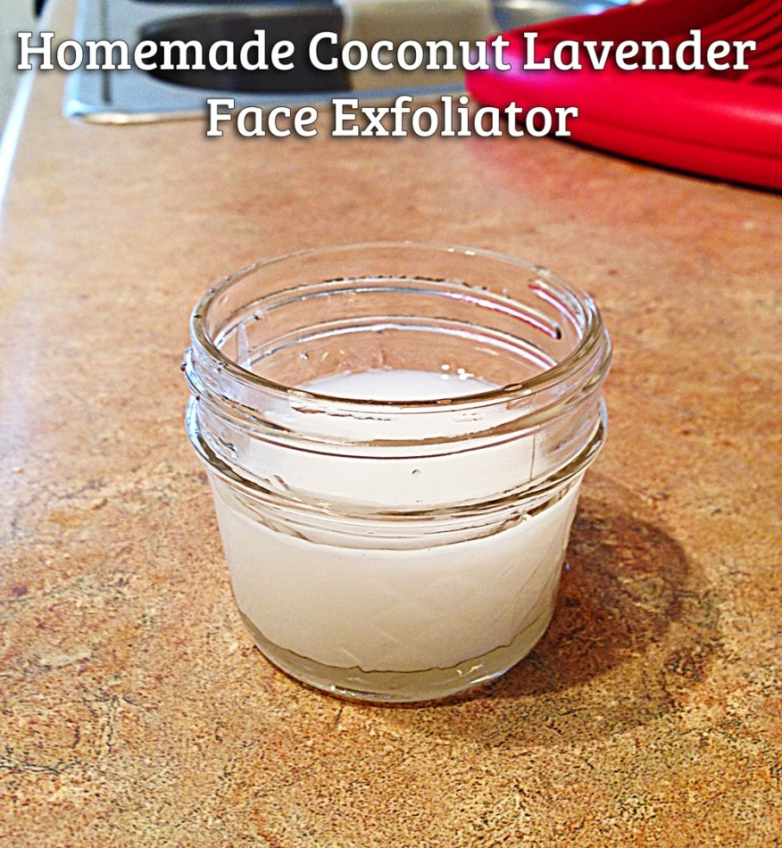 Homemade coconut lavender face exfoliant