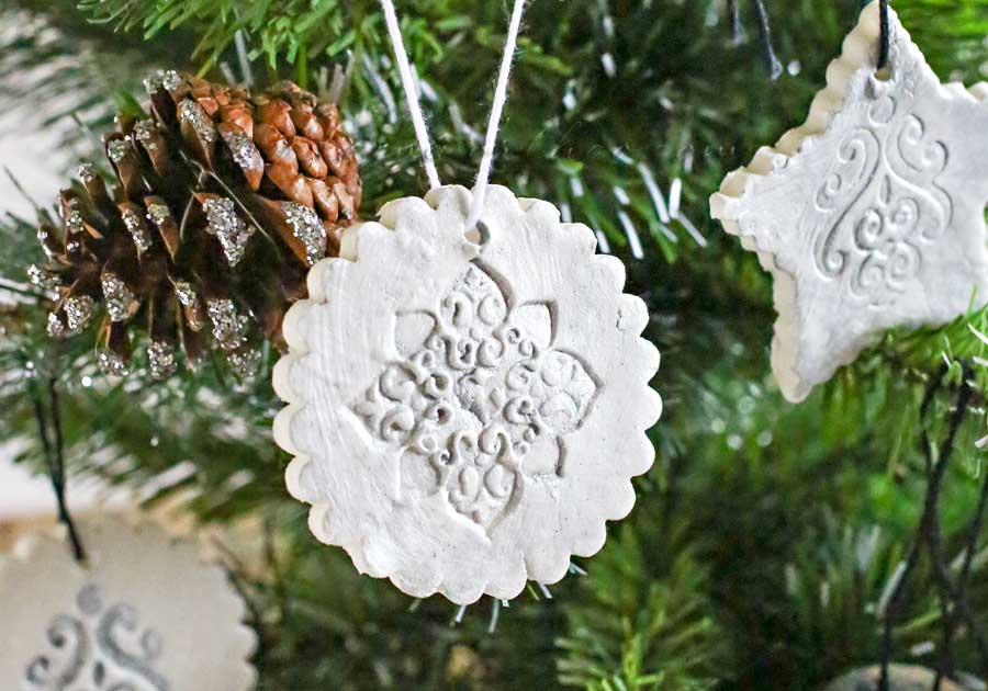 Homemade stamped clay ornaments