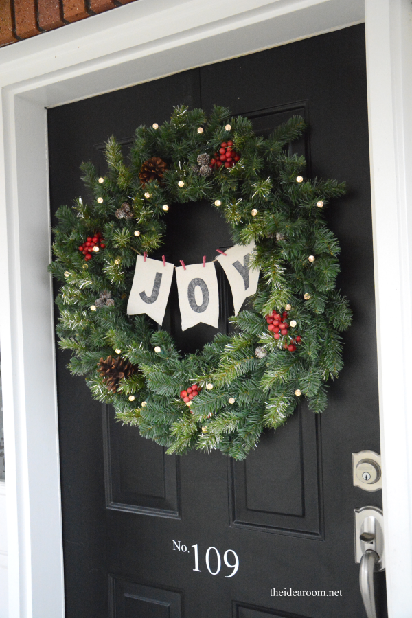 Joy christmas wreath diy