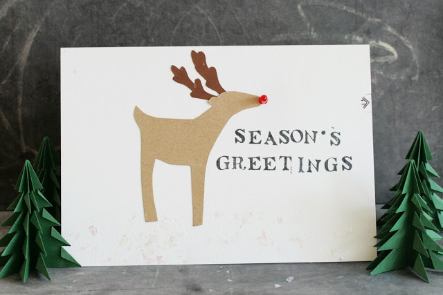 Led reindeer greeting card diy
