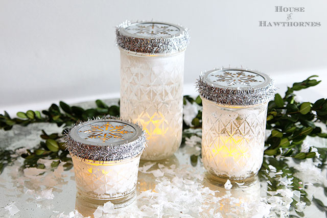 Mason jar christmas votives diy