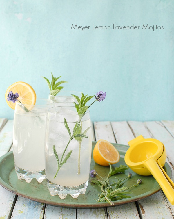 Meyer lemond lavender mojitos