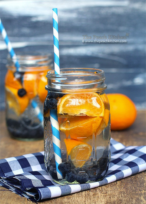 Orange bluberry infused water