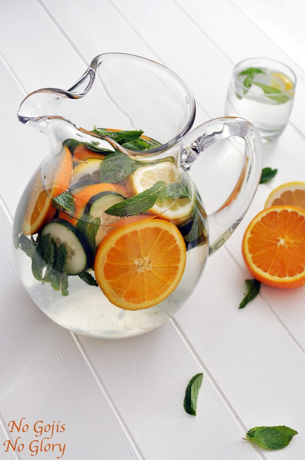 Orange, cucumber, and mint water