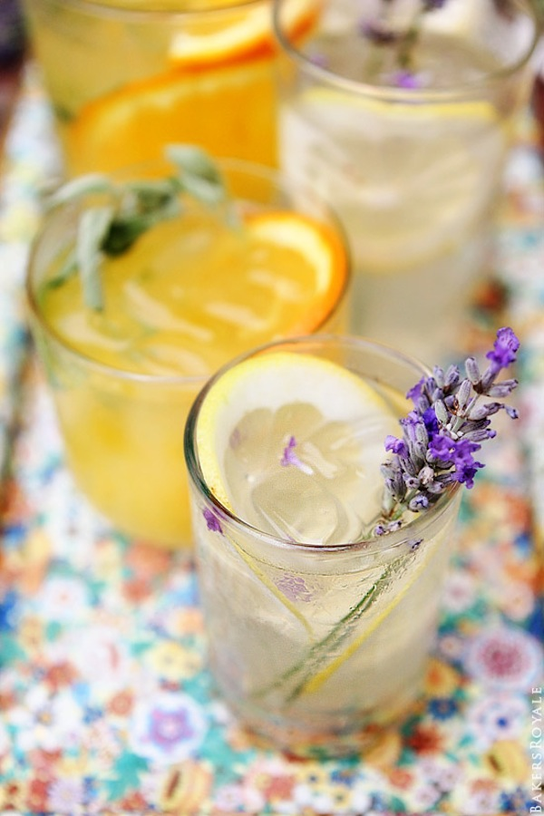 Orange, sage, lemon, and lavender vodka tonic