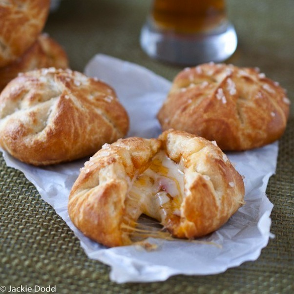 Pizza stuffed pretzel rolls