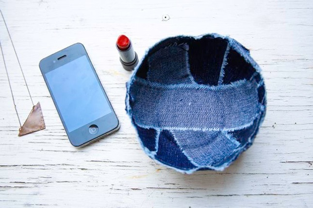 Patchwork jean bowl