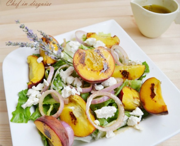 Peach feta salad with lavender dressing