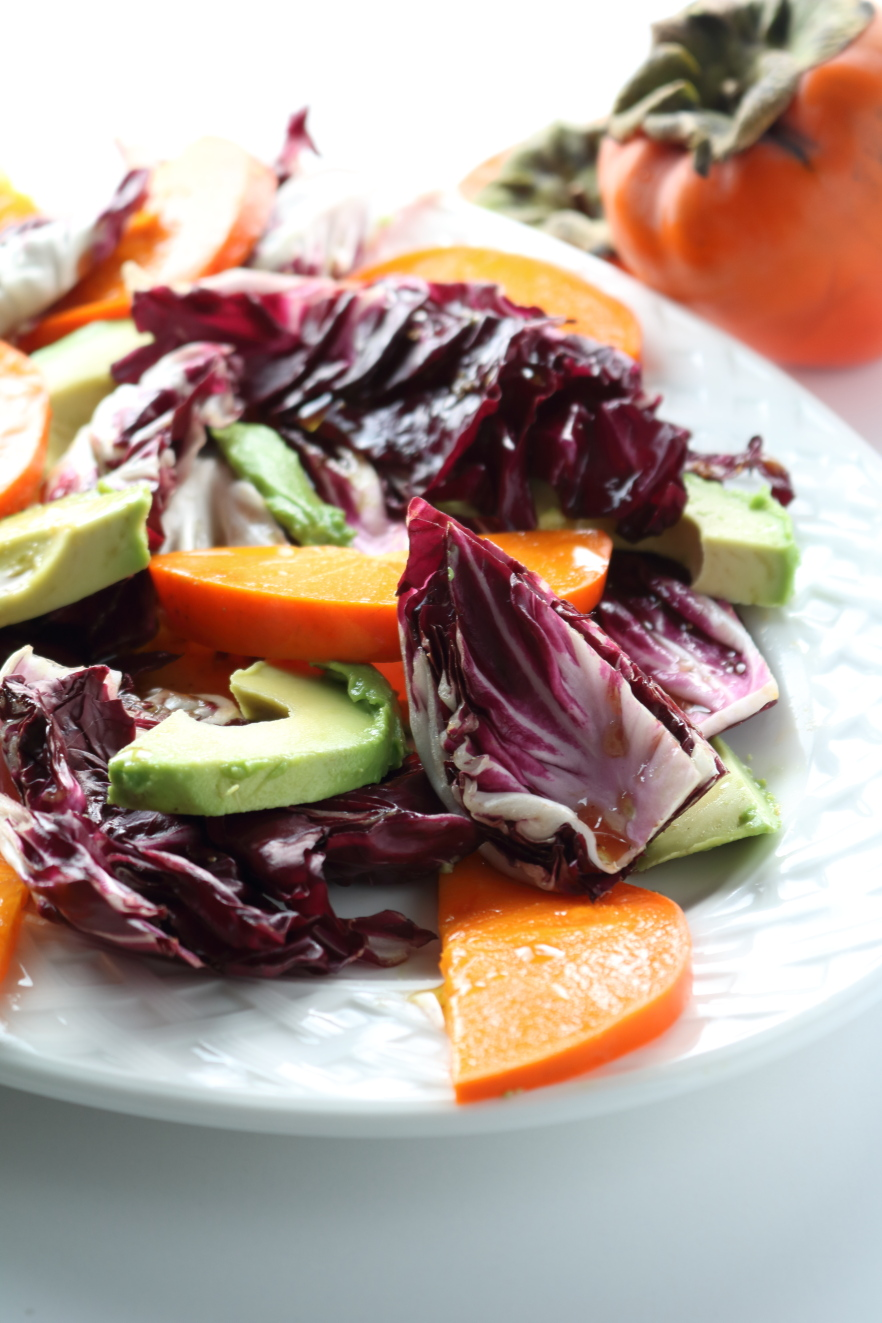 Persimmon radicchio avocado salad