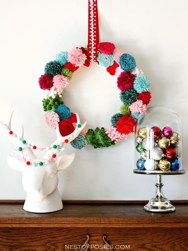 Pom pom and posie wreath diy 3