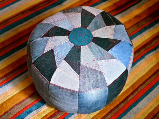 Quilted denim pouf