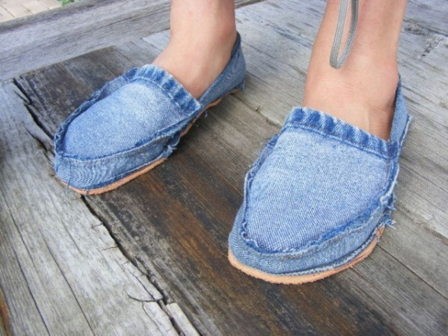 Recycled jean footwear
