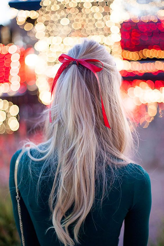 Red ribbon christmas hairstyle