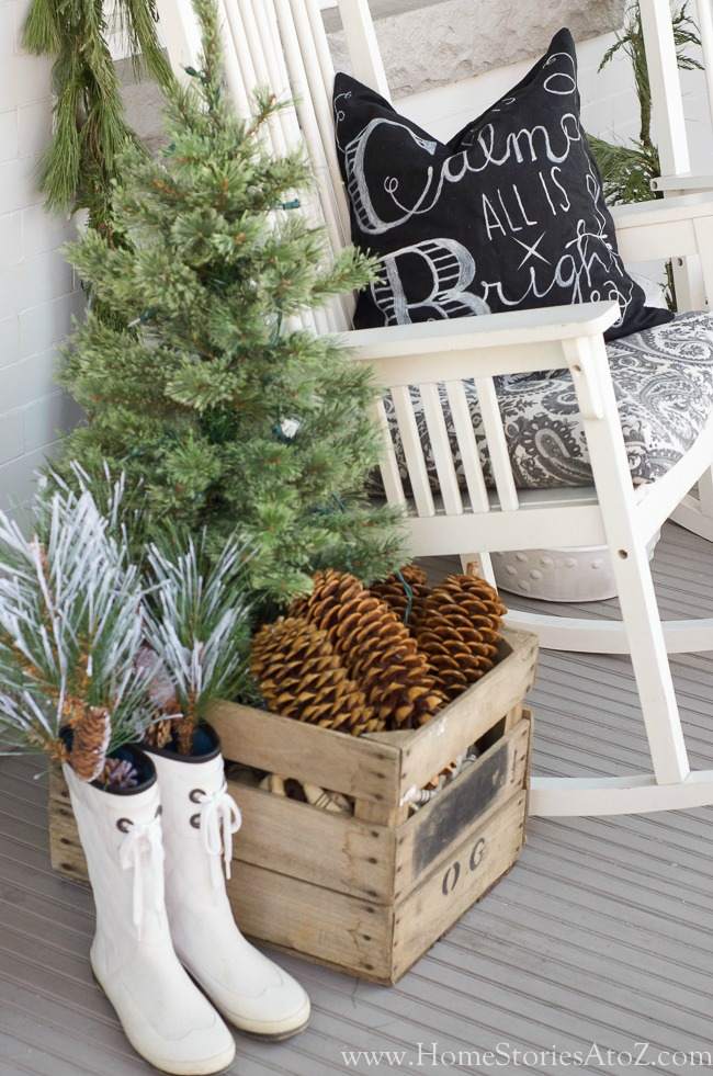 Repurposed christmas porch idea