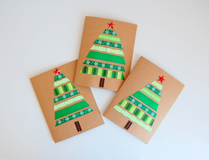 Ribbon christmas cards green northstory