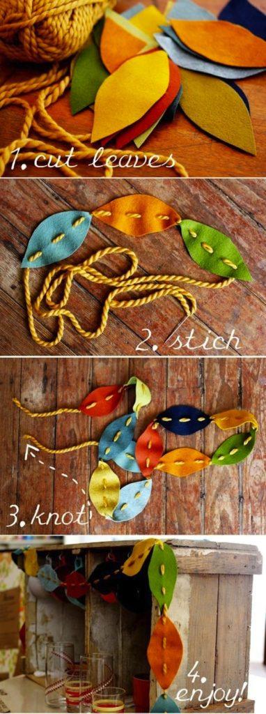 Sewn leaf garland