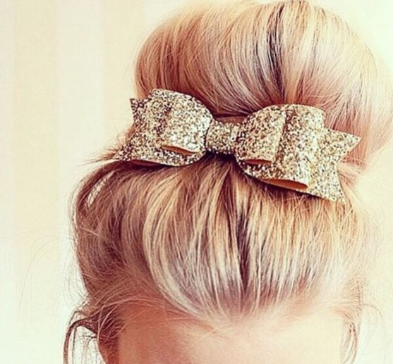 Sparkle bow bun hairstyle