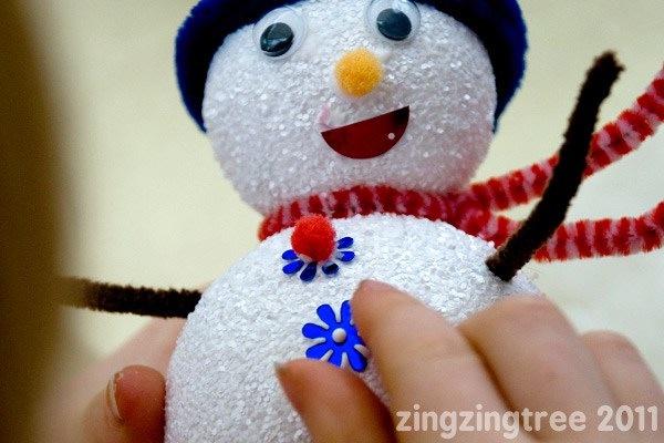 Sparkling foam snowman