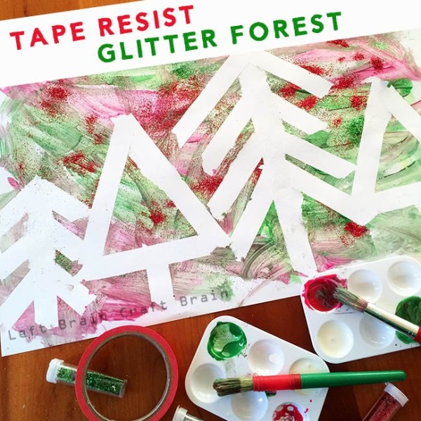 Tape resist glitter forest