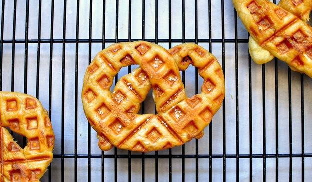 Waffled soft pretzels