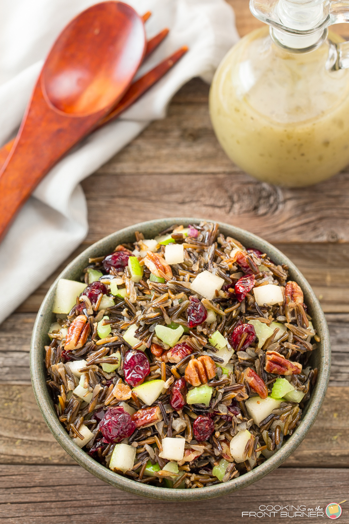 Wild rice pear cranberry pecan salad
