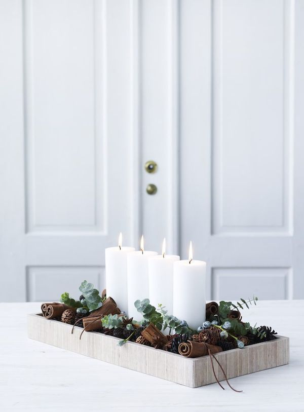 Winter candle centerpiece idea