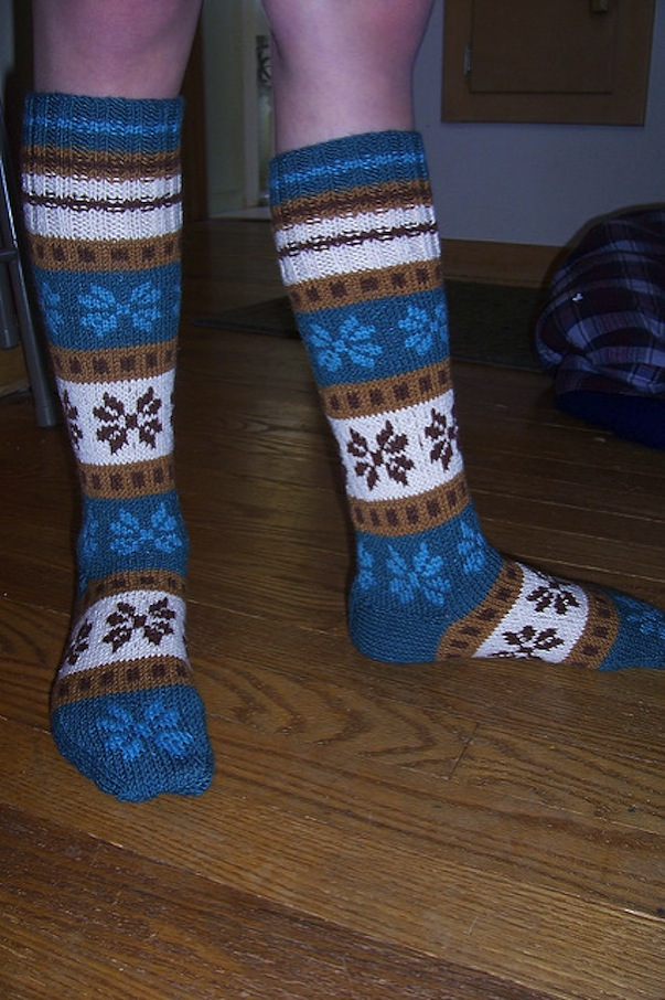 Winter flower socks