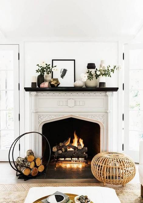 Black and white winter mantel