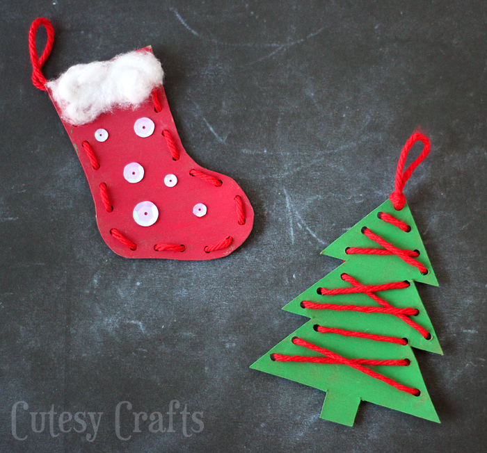 DIY Lacing Ornaments. Christmas Lacing Craft Kids