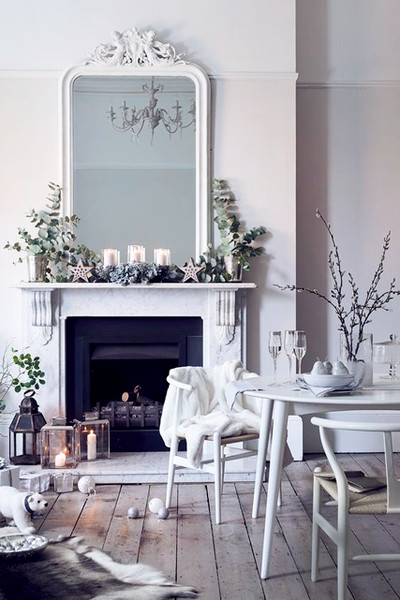 Classy winter mantel with eucalypus