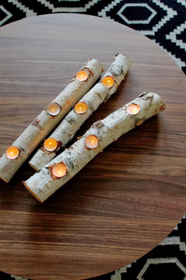 Diy birch candle fire light