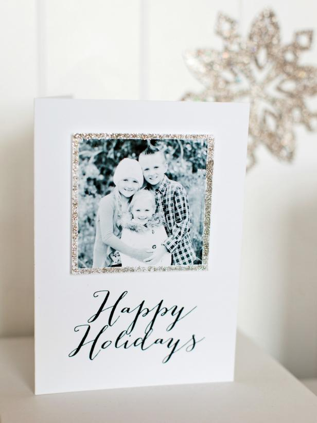 Diy christmas card glitter frame